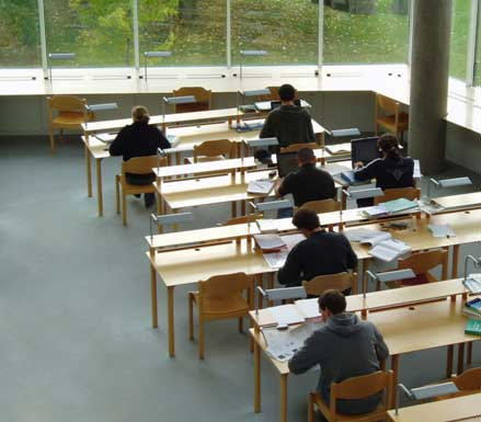 people studying in the library